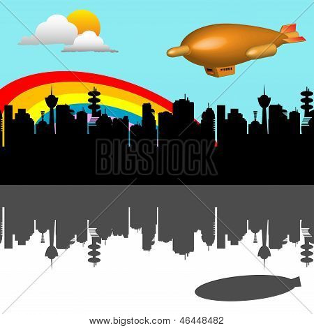 Blimp flying over the city