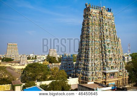 MADURAI, INDIA - MARCH 3: Meenakshi temple - one of the biggest and oldest Indian temples on March 3, 2013 in Madurai, Tamil Nadu, India. The 14 gateway towers called gopura ranging from 45 to 50m.
