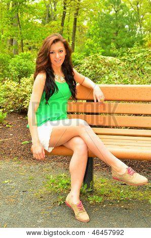 Pretty Girl on Park Bench