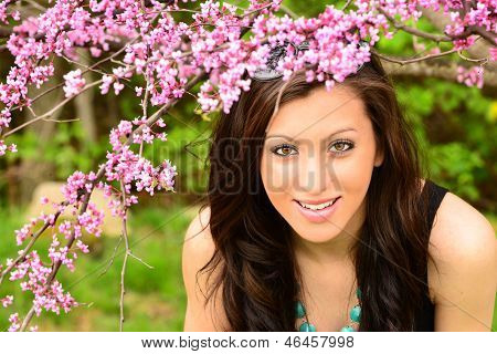 Spring Flowrers with Pretty Girl