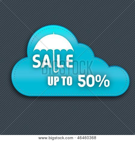 Monsoon offer and sale banner, sticker or flyer with cloud. poster