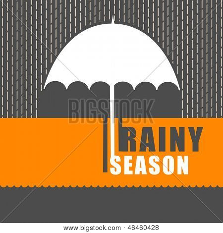 Rainy season background with open umbrella. poster