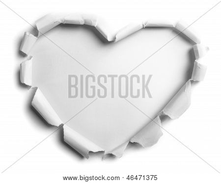 white torn paper with heart shape over gray background poster