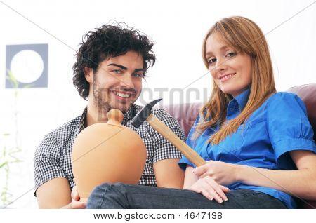 Couple And Moneybox