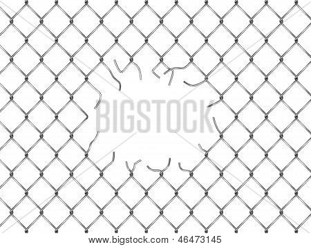 Hole In Fence From Silver Mesh
