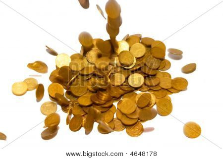 Rain Of Gold Coins Isolated On White.