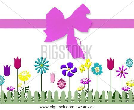 Spring  Floral Print With Bow