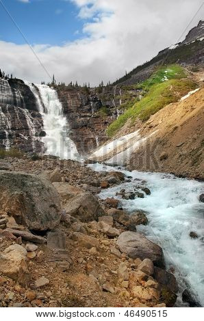 Waterfall And Rapid Mountain River In Banff National Park