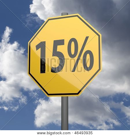 Road Sign Yellow With Text 15 Percent