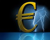European money in light. blue background. Symbol. Crisis. poster
