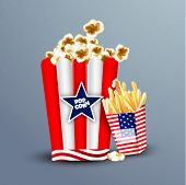 4th of July, American Independence Day concept with snacks in national flag color cardboard. poster