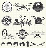 Collection of retro style barber shop labels and icons poster