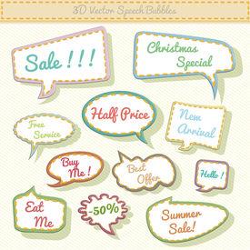 speech bubbles 3d with sale text