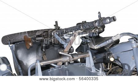German machine gun MG-34/42 mounted on the motorcycle -is isolated on the white poster