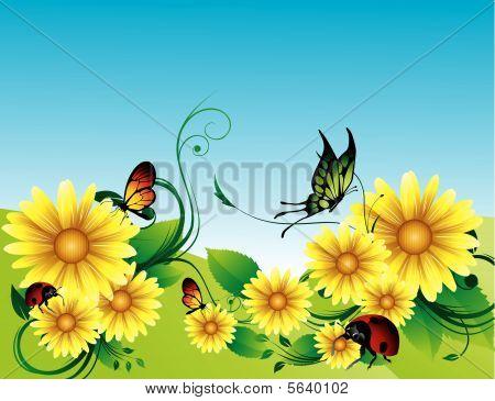 garden vector composition
