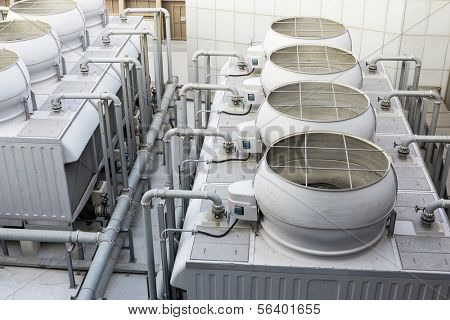 Cooling tower inside the building
