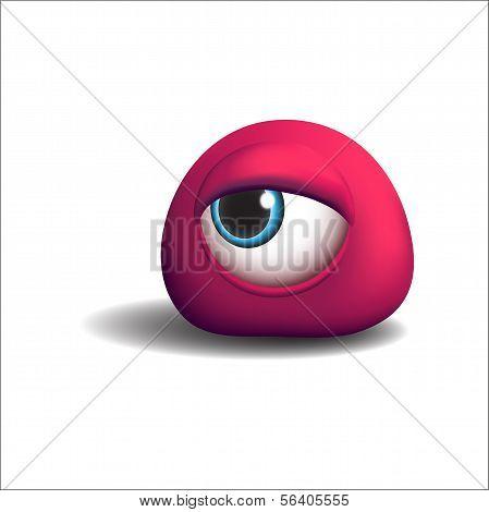 3d red eye monster