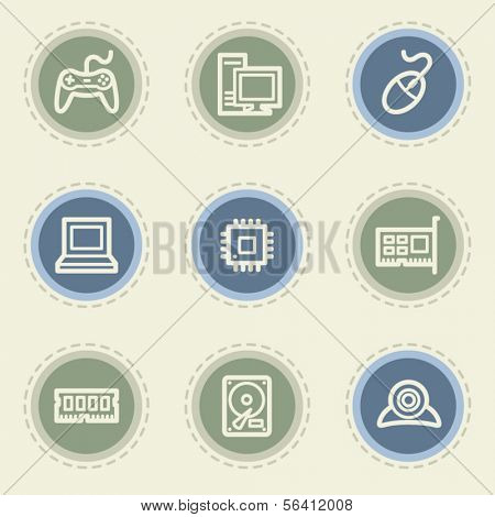 Computer web icon set, vintage buttons