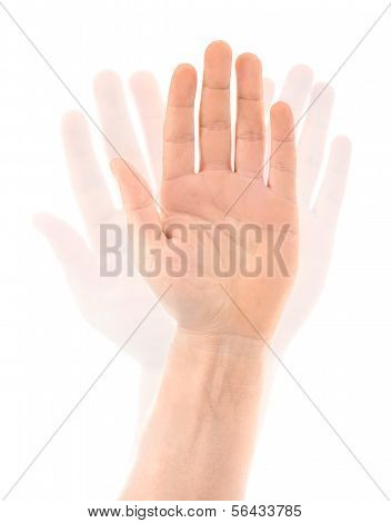 Waving Hand on a White Background