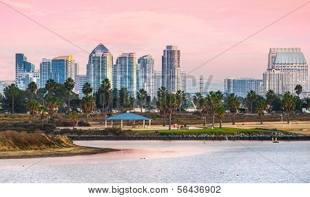 Mission Beach Sunset and View of Downtown, San Diego California, USA