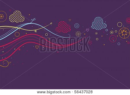 Illustration of a Colorful Abstract Banner Design Set Against a Purplish Background