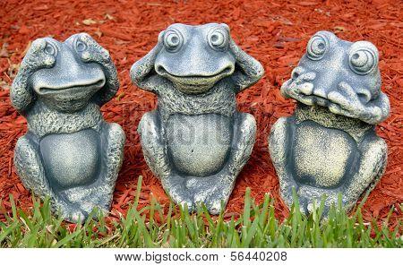 See no evil, hear no evil, speak no evil frog figures poster