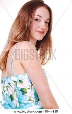 Young Lady In Blue White Dress.