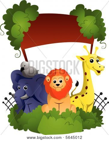 A Zoo Vector Illustration against white background poster