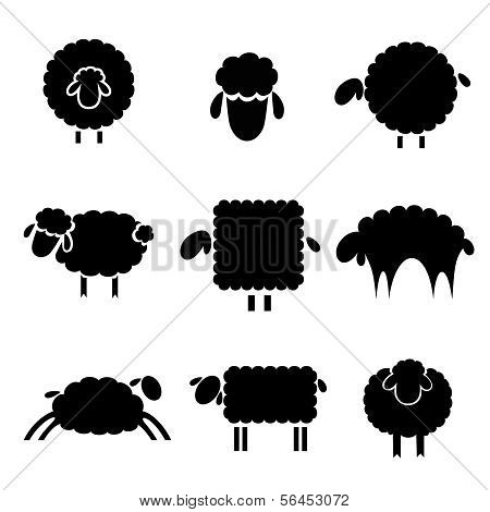 Black Silhouette Of Sheeps