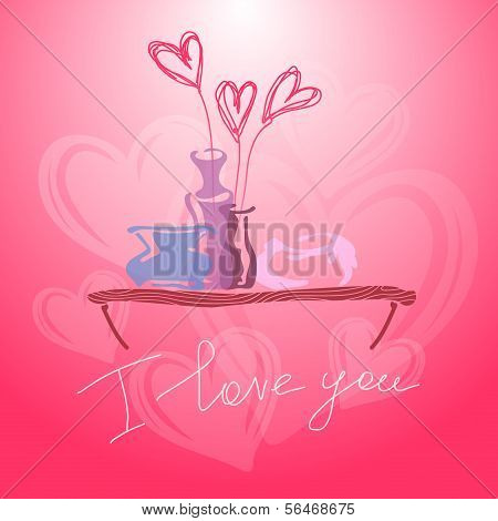 Valentine's Day. I love you. Vector background