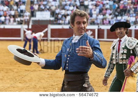 Spanish bullfighter on horseback Pablo Hermoso de Mendoza turning of honor at the Bullring Pozoblanc
