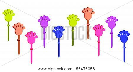 Set Of Plastic Hand Clap Toys On White Background