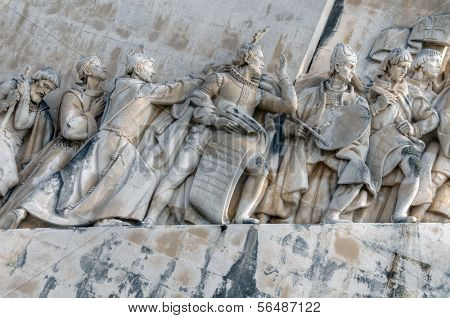 LISBON - MARCH 26: Details of the Monument to the Discoveries (Padrao dos Descobrimentos) on the bank of Tagus River March 26, 2009 in Lisbon, Portugal.