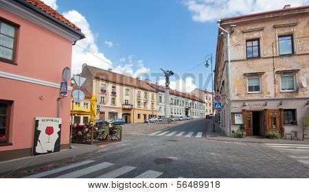 VILNIUS, LITHUANIA, AUGUST 12: Beautiful houses in the street in old town of Vilnius, Lithuania Augu
