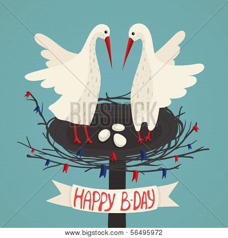 Parents Storks and Eggs in Nest Birthday Card