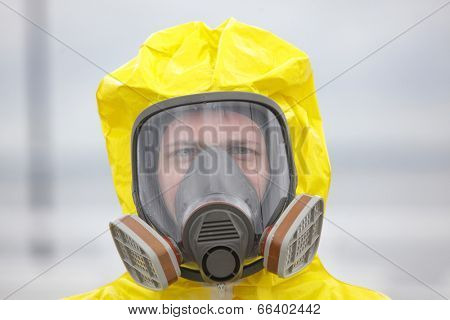 Head of man in modern gas mask - close up