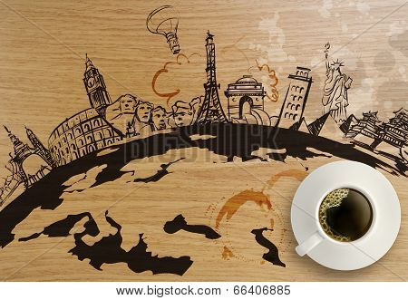 Traveling Around The World Wooden Background As Concept