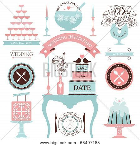 Vector decorative wedding dinner elements.