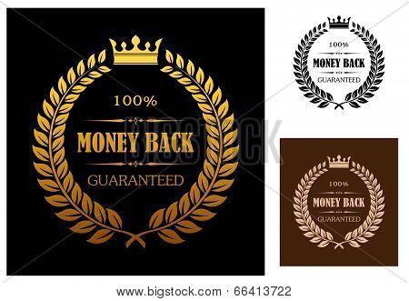 Golden Money back guarantee labels