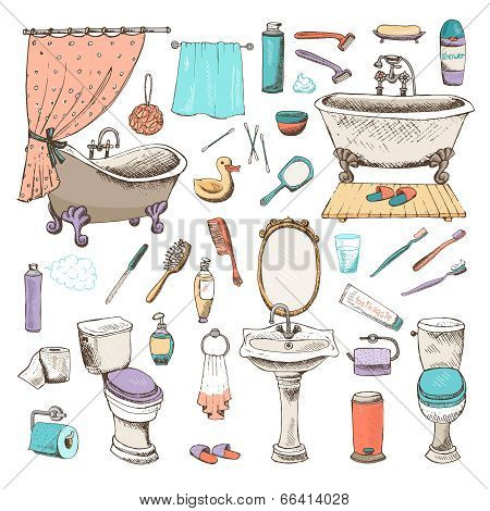Set of vector bathroom and personal hygiene icons with bathtubs  towel  hand basin  toilet  mirror  toiletries  toothbrush  hairbrush  comb  duck  toilet paper  hand-drawn illustrations poster