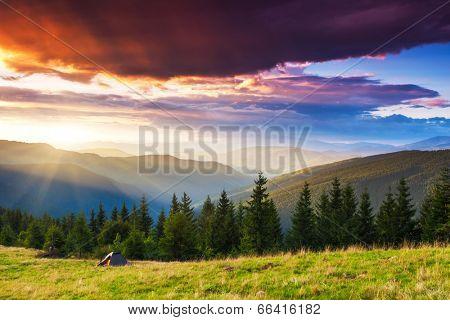 Tourist camp in a mountains. Carpathian, Ukraine, Europe. Beauty world.