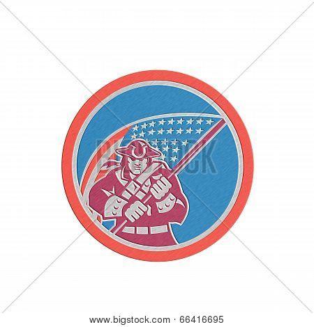 Metallic American Patriot Holding Flag Circle