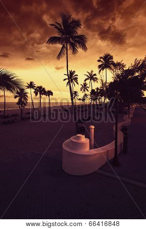 Fort Lauderdale Beach At Sunset