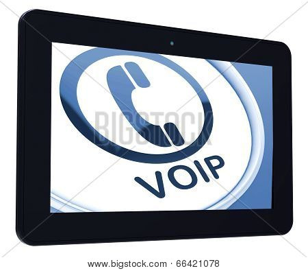 Voip Tablet Means Voice Over Internet Protocol Or Broadband Tele