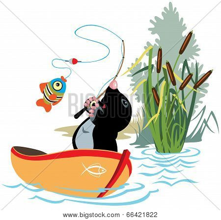 cartoon mole fishing in a boat,isolated image for little kids poster