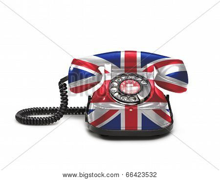 Office: Old And Vintage Telephone With The Union Jack Flag