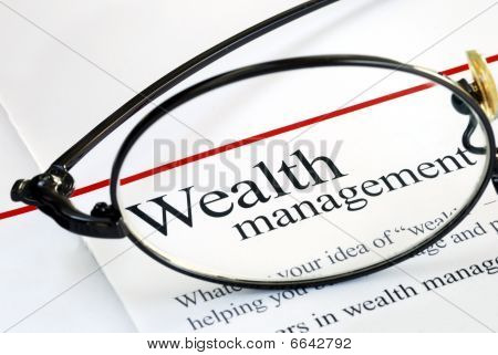 Focus on wealth management and money investing poster