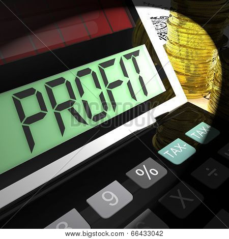 Profit Calculated Shows Surplus Earnings And Returns