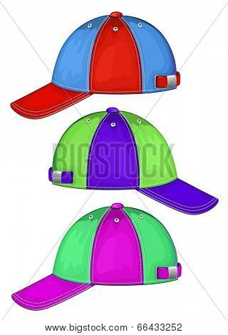 Vector illustration of baseball cap ( different colors, side view). No mesh. Color redact easy.