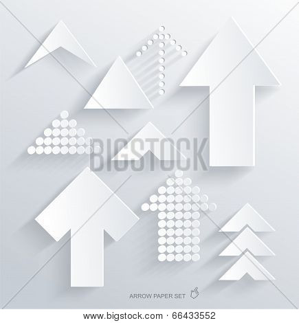 Set Of White Different Paper Arrows